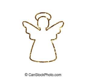 vector, gouden, schitteren, kerstengel, lijn, pictogram