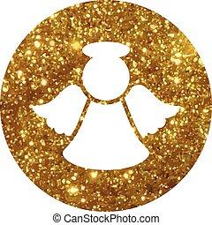 vector, gouden, schitteren, kerstengel, plat, pictogram
