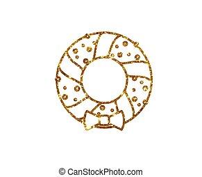 vector, gouden, schitteren, kerstmis, deur, krans, versiering, lijn, pictogram