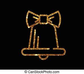vector, gouden, schitteren, kerstmis, klok, versiering, met, lint, lijn, pictogram
