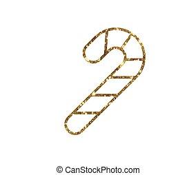 vector, gouden, schitteren, kerstmis, konfijt stok, lijn, pictogram