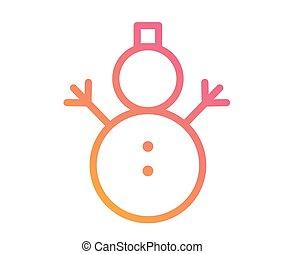 vector, gouden, schitteren, kerstmis, sneeuwpop, met, sjaal, pictogram