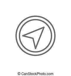 Vector gps navigation, compass, location line icon.