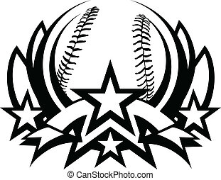 vector, gráfico, beisball, plantilla
