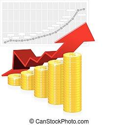 vector, gráfico, coins, ilustración negocio