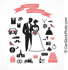vector, gráfico, conjunto, elementos, boda