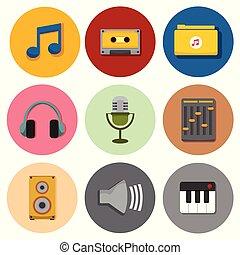 vector, gráfico, iconos, simple, símbolo, ilustración, conjunto, musical