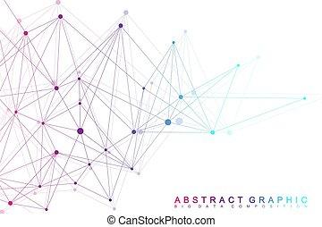 vector, gráfico, visualization., telón de fondo., grande, communication., array., molécula, compounds., complejo, perspectiva, plano de fondo, digital, illustration., cibernético, datos, geométrico, mínimo, científico
