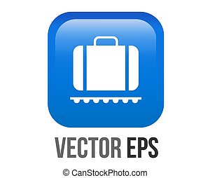 Vector gradient blue baggage claim button square icon