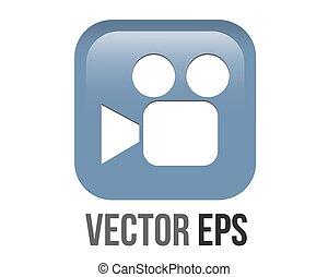 Vector gradient blue cinema film video camera, camcorder round corner square icon button