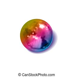 Vector gradient colored metallic ball, realistic illustration, decoration template, 3D object with a shadow, isolated.