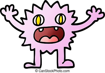 vector gradient illustration cartoon funny furry monster