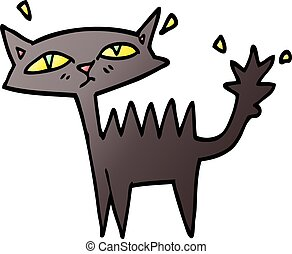 vector gradient illustration cartoon halloween black cat