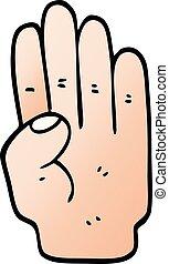 vector gradient illustration cartoon hand