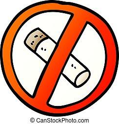 vector gradient illustration cartoon no smoking sign