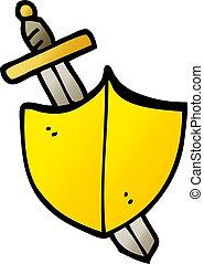 vector gradient illustration cartoon sword and shield