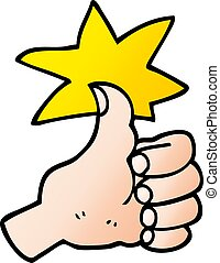 vector gradient illustration cartoon thumbs up symbol
