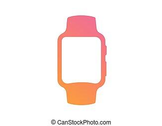 vector gradient pink to orange flat smart watch icon