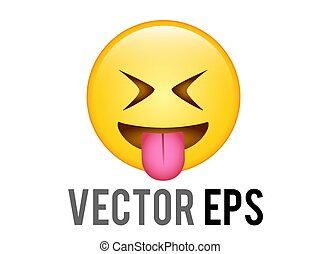 vector gradient yellow smiling face with the tongue out icon