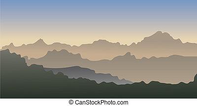 vector, gradiente, de, un, montañas.