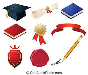 vector, graduación, elementos