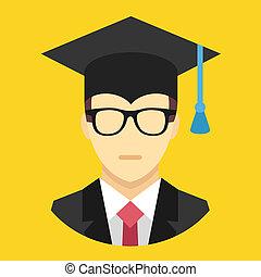 vector, graduación, hombre, icono