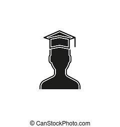 vector graduates student - education icon, university diploma graduation symbol