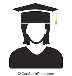 vector graduates student - education icon, university diploma graduation symbol.