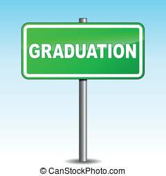 Vector graduation signpost