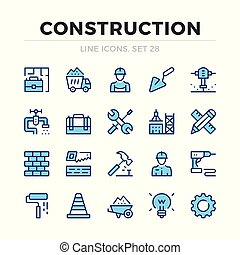 vector, grafisch, communie, schets, iconen, eenvoudig, set., symbols., slag, bouwsector, dune lijn, design.