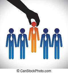vector, grafisch, concept, vaardigheden, graphic-, bedrijf, wedijveren, zelfde, keuze, candidate., persoon, werk, rechts, kandidaten, velen, vervaardiging, hiring(selecting), post, best, optredens