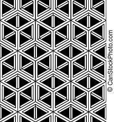 vector, grafisch, driedimensionaal, interweave, abstract, illusoir, pattern., seamless, tijdgenoot, witte , intertwine, black , monochroom, geometrisch, covering., achtergrond, cijfers.