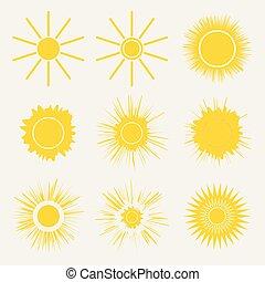 vector, grafisch, iconen, eenvoudig, zon, sunrise., gele, symbolen, achtergrond., set, ondergaande zon , illustratie, sinaasappel, logo, witte , spotprent, kids.