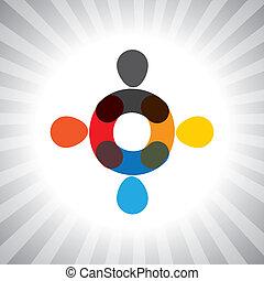 vector, grafisch, kleurrijke, mensen, eenvoudig, abstract, verenigd, together-