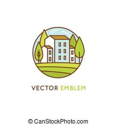 vector, grafisch ontwerp, en, logo, ontwerp, mal