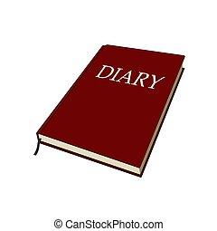 vector, grafisch, opmerkingen, memoires., illustratie, geheugen, vrijstaand, book., dagboek