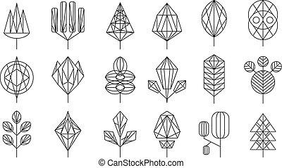 vector, grafisch, set, grote verlofen, bomen, geometrisch, communie, ontwerp, illustratie, verzameling