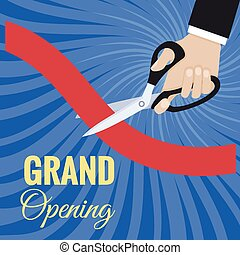 Vector grand opening card - Card grand opening ceremony cut...