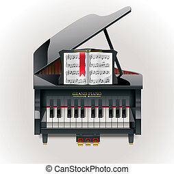 Vector grand piano XXL icon - Detailed grand piano with...
