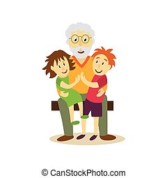 vector grandfather sits on bench, hugging children