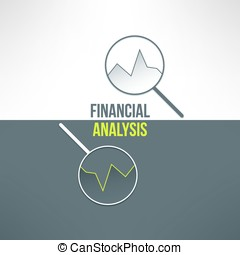 Vector graph with magnifying glass in modern flat design. Financial analysis background suitable for business presentation, report and web page design