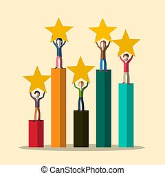 Vector Graph with People and Stars. Rating Symbol.