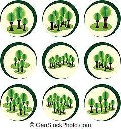Vector graphic. Abstract trees in forest. Trees in circle.