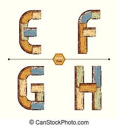 Vector graphic alphabet in a set EFGH