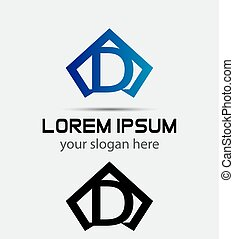 Vector graphic alphabet symbol D