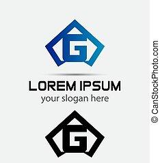 Vector graphic alphabet symbol G