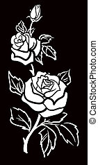 Vector graphic art of Rose flower with leaves