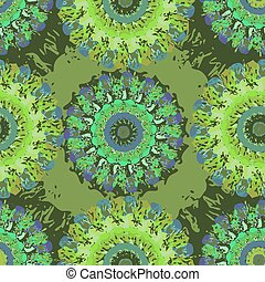 Decorative seamless pattern with stylized flowers watercolor
