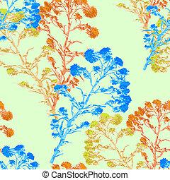 seamless pattern watercolor flower Helichrysum, yarrow