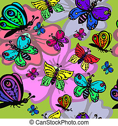 seamless pattern with decorative butterflies on flowers